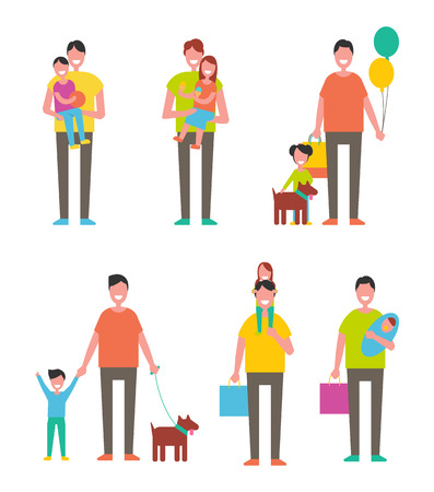 Fathers day poster dads holding son and daughter on arms. Happy fatherhood concept vector isolated. Children and parents together with pet, bags and balloon