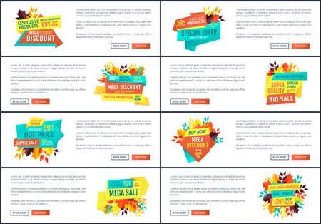 Mega discount posters set with text sample. Special offer sale and promotion autumn proposition and leaves decoration. Buy now on hot price vector