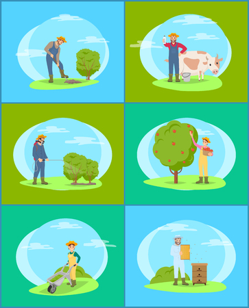 Farmers and cow livestock domestic animal tending. People working on land with shovel and trolley spraying bushes. Beekeeping person in uniform vector Illustration