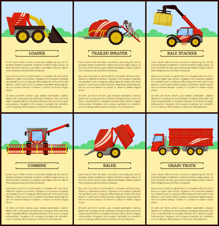 Loader and combine posters set with text. Bale stacker and baler with compressed hay. Grain truck and trailed sprayer. Agricultural machinery vector Illustration