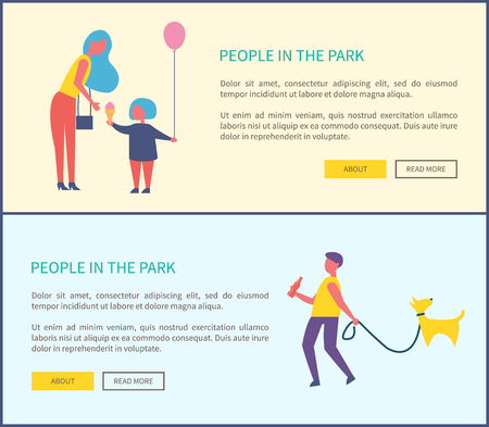 People in park, man walking dog, mother and child with balloon eating ice cream. Guy with bottle of cola, walk pet on leash, spend time outdoor web posters