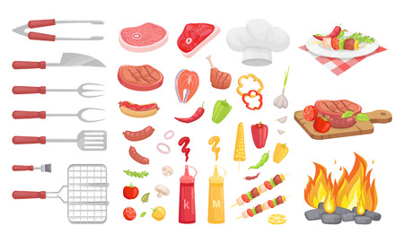 BBQ barbecue vegetables and meat isolated icons vector set. Cutlery spatula fork and knife cookware. Fire and board with served plate and roasted beef Stock Illustratie