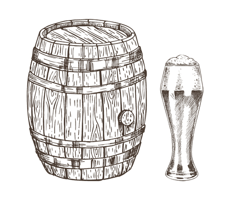Oak container and glass of frothy ale graphic art isolated on white background vector illustration of wooden keg for beer storage, curved shape goblet