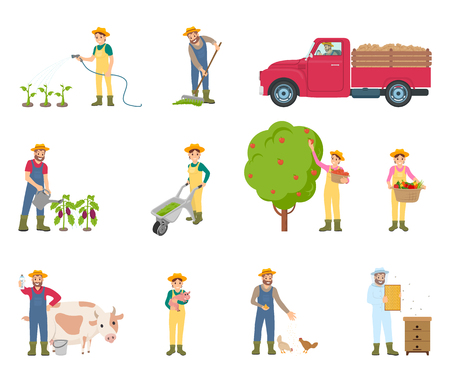 Farmer with rake and watering can isolated icons set. Car for products transportation, woman with compost, pig and cow. Person feeding chickens vector