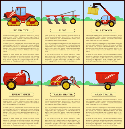 Slurry tanker machinery and combine, set of posters with text sample. Machines on farm, tractor and plow, plough device. Bale stacker and baler vector Illustration
