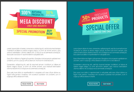 Exclusive half price reduction posters. Mega discount banner with special promotion. Best choice limited time natural production proposition vector