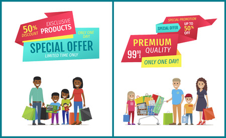 Special offer vector banner with people shopping. Premium quality, exclusive products, limited time, only one day promotion, happy family and purchase Иллюстрация
