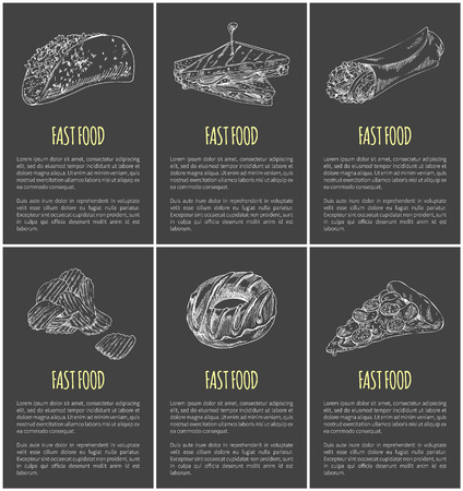 Fast food posters and text set. Monochrome sketches outline sandwich with roasted bread donut pizza chips Mexican burrito dishes take away meal vector  イラスト・ベクター素材