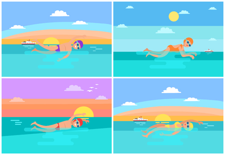 Butterfly and freestyle, backstroke and breaststroke swimming styles performed by sportsmen set. Swimming people wearing swimsuits and goggles vector