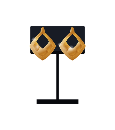 Earrings set gold accessory on black display, collection created for women, jewelry modern design elegant classic bijouterie vector isolated on white