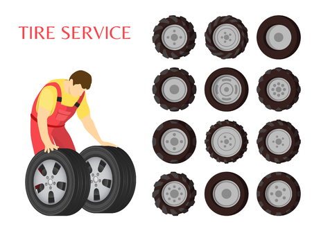 Tire service car maintenance poster. Workman wearing uniform pulling rubber car wheels. Set of isolated icons and different type of objects vector Illustration
