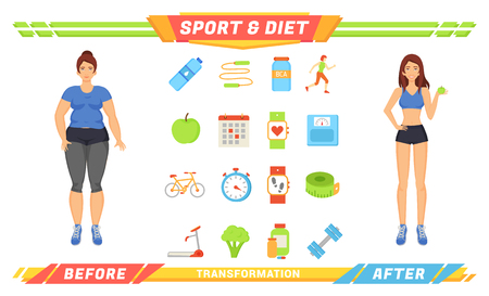 Sport and diet women poster vector. Isolated icons bottle of water, apple and broccoli, amino acid and workouts. Exercises and human transformation 일러스트