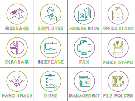 Message and address book set of icons. Fax and hand shake diagram chart and briefcase employee file folder. Office stand furniture pencil stand vector