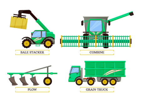 Bale stacker and combine set, plow and grain truck machines. Isolated icons set vector. Agricultural machinery for working on land cultivation of soil