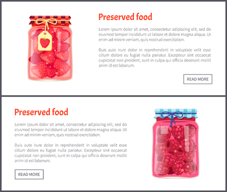 Preserved food fruits posters set with text sample. Jars with strawberries and raspberries jam confiture. Container with ingredient tag on lace vector