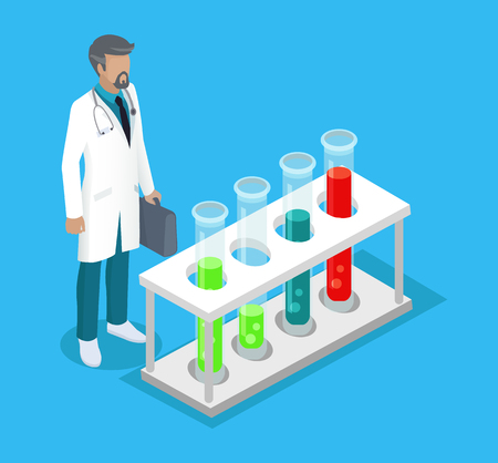 Medical worker man in white coat working in lab. Test-tube flasks with substances for researchers. Doctor holding briefcase 3d isometric vector