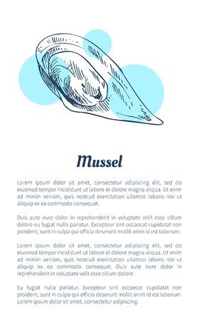 Illustrazione disegnata a mano di vettore di frutti di mare di cozze