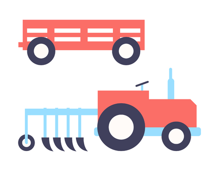 Agrimotor plough tractor set of farming icon. Automobile with equipment for ground cultivation. Auto and trailer for transportation isolated vector signs