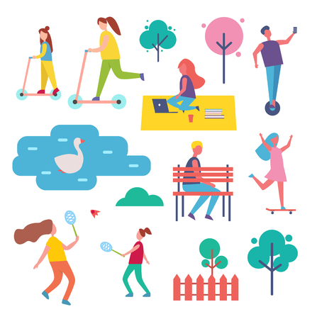 Mother and daughter activities vector. Scooter and tennis game, woman working in park, freelancer job. Man riding hoverboard, trees and fence icon set 矢量图像