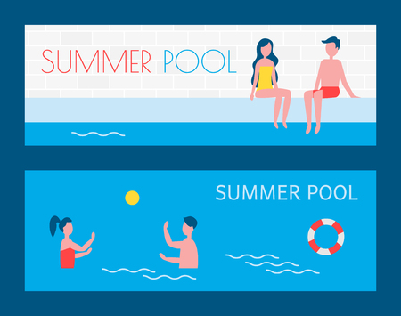 Summer pool vacation of people posters set with text. Couple on poolside man and woman relaxing in water. Freelancers playing water game polo vector