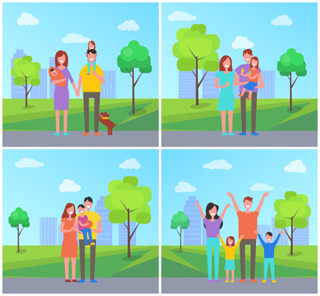 Family in city park set people vector. Parenting and childhood, father with daughter, eating ice cream dessert. Mother holding newborn child on hands Çizim