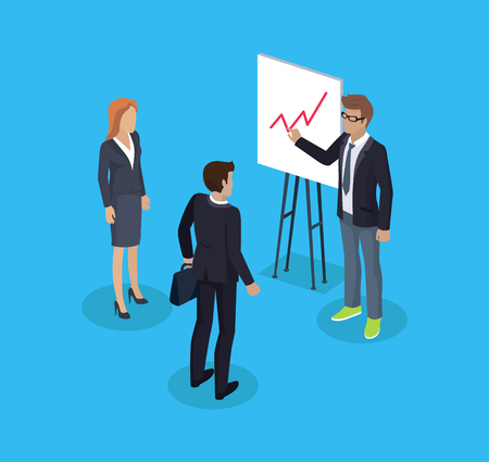 Businessman and presentation on whiteboard shown by presenter. Business person with briefcase and woman secretary. Working people 3d isometric vector