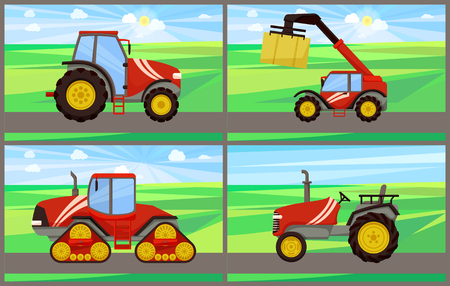 Bale stacker and tractor vector. Agricultural machinery working on fields with greenery. Land with sky, grass and mechanisms for cultivation of soil Illustration