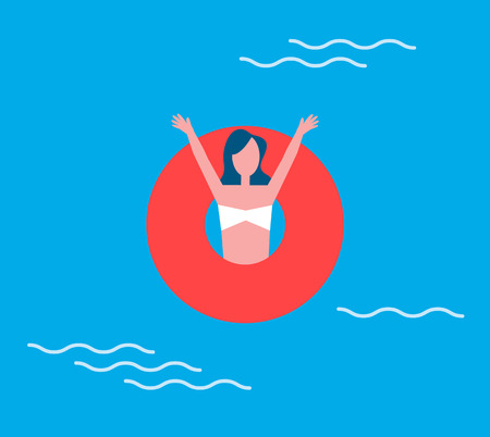 Woman and lifeline, in swimming pool. Lady happy to be on summer vacations. Female with lifebuoy, raising hands, emotions of happiness, summertime vector