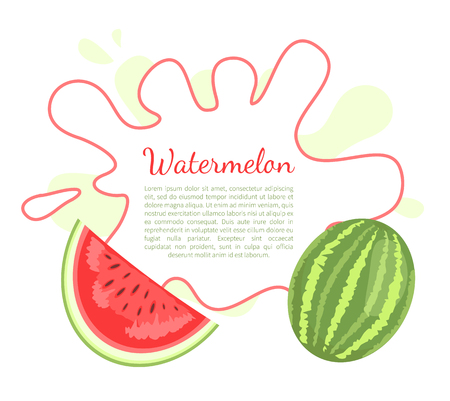 Watermelon or citron melon berry poster with frame and place for text. Ripe tropical or subtropical plant vector illustration icon isolated on white