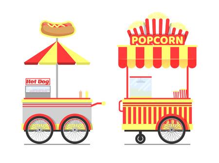 Carritos de comida callejera con sabrosas palomitas de maíz y perritos calientes Ilustración de vector