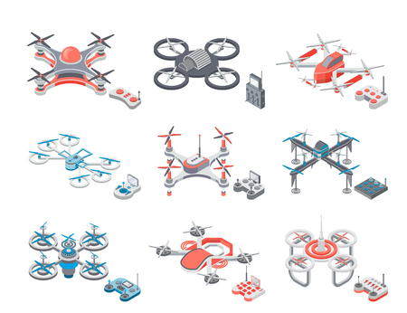 Drone Flying Items Icons Set Vector Illustration