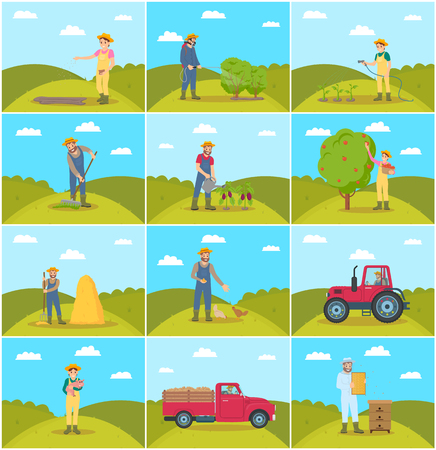 Beekeeper and Farming Man Vector Illustration