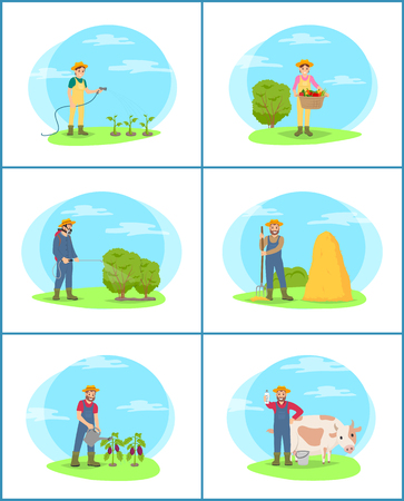 Farming Plantation People Set Vector Illustration