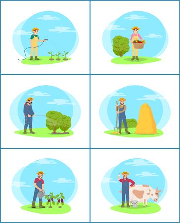 Farming Plantation People Set Vector Illustration