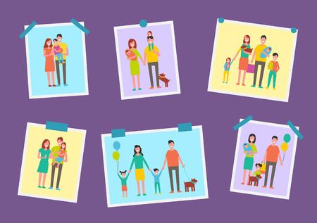 Family Happy Parents Pictures Vector Illustration