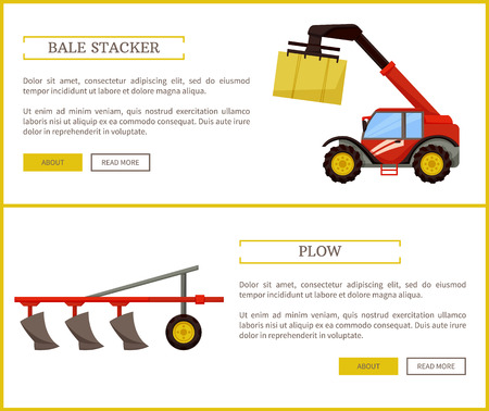 Plow and Bale Stacker Set Vector Illustration 스톡 콘텐츠