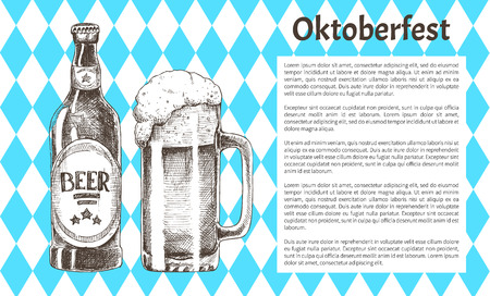 Oktoberfest Beer Objects Set Hand Drawn Icons Reklamní fotografie