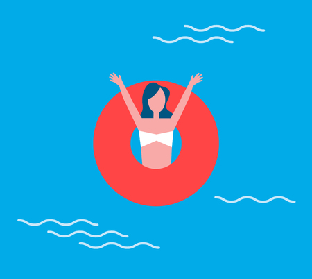 Woman Lifelifeline, Swimming Vector Illustration Foto de archivo - 112366196