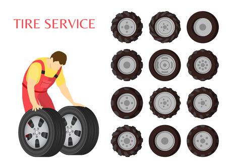 Tire Service Car Maintenance Vector Illustration Stock fotó