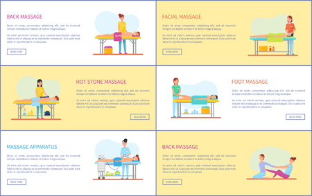 Back facial and hot stone, foot massage and treatments set. Posters with text sample and masseuses with apparatus caring for client health vector