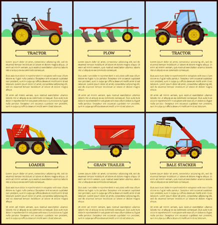 Agricultural machinery set cartoon vector banner. Big with cabin and small compact tractors, plow and grain trailer, loader and bale stacker icons