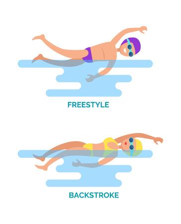 Nageurs professionnels en nage libre et en dos crawlé. Sports nautiques, compétitions féminines et masculines dans différents coups. Activité de natation avec vecteur de texte