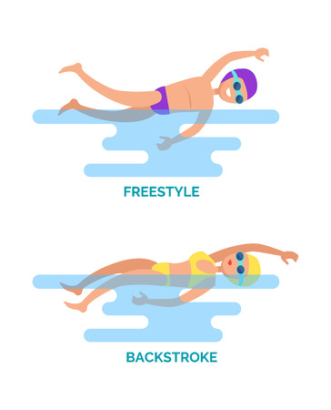Freestyle and backstroke professional swimmers. Water sport, female and male competition in different strokes. Swimming activity set with text vector