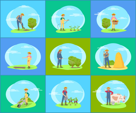 Farmer taking care of plants and animals on farm cartoon set of vector banners. Farming man and woman working in garden, watering plants and sow seeds 일러스트
