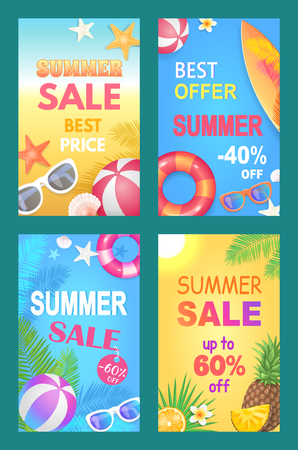 Summer Sale Best Price Set Vector Illustration