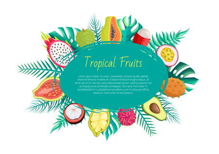 Tropical fruits banner with exotic food. Pitaya sugar apple, papaya rambutan, passion fruit and kiwano, avocado and lychee, cupuacu, mangosteen guava Illustration