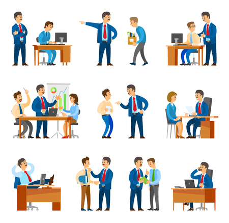Boss and workers activities in office set of isolated icons vector. Male chief executive fire employees and praising them. Business meeting discussion