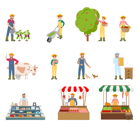 Farmers working on land isolated icons set. Man watering plants, woman harvesting, beekeeping person. Marketplace and trade of vegetables meat vector Illustration