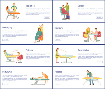 Spa salon depilation and barber, hair styling and manicure, pedicure and cosmetician, body wrap and massage vector web banners set, spa salon procedures