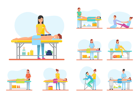 Medical and relaxing massage session vector set. Back and hot stone, foot and facial, abdominal and self, with apparatus and armchair massaging equipment Illustration